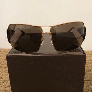 Prada Wide Gold Trim Sunglasses